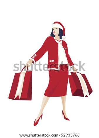 christmas shopping - stock vector