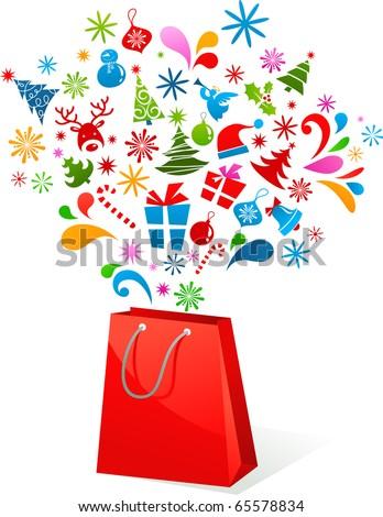 Christmas shopping bag - stock vector
