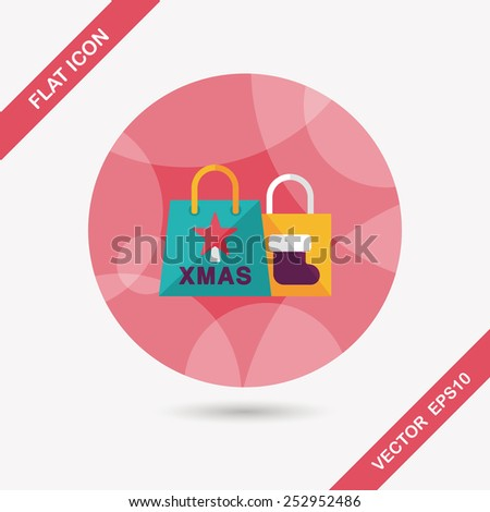 Christmas shopping bag flat icon with long shadow,eps10 - stock vector