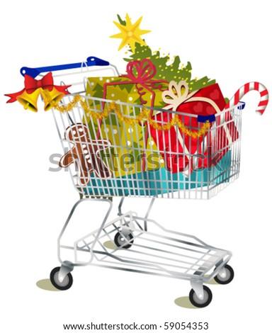Christmas shopping cart - stock vector