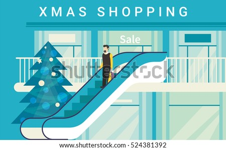 Christmas shopping mall concept illustration of happy consumer on escalator in supermarket or store. Flat blue design for winter season sale and retail xmas advertising