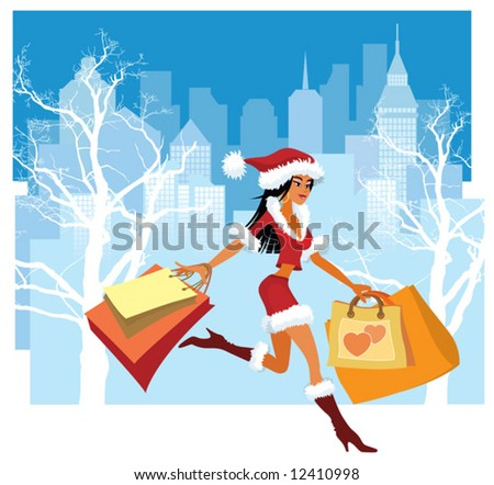 Christmas shopping. Vector illustration of a girl with shopping bags - stock vector