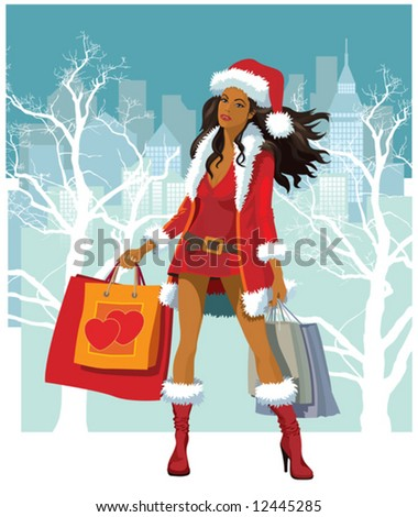 Christmas shopping, vector illustration of a girl with shopping bags - stock vector