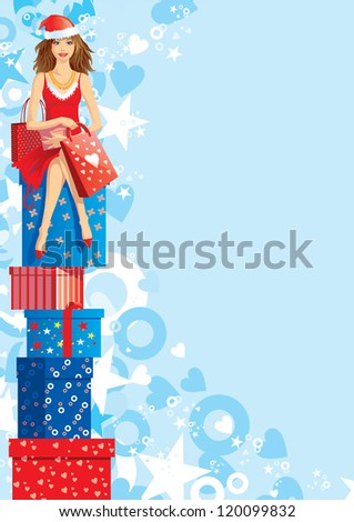 Christmas shopping. Vector illustration of beautiful woman with santa cap sitting on many boxes - stock vector