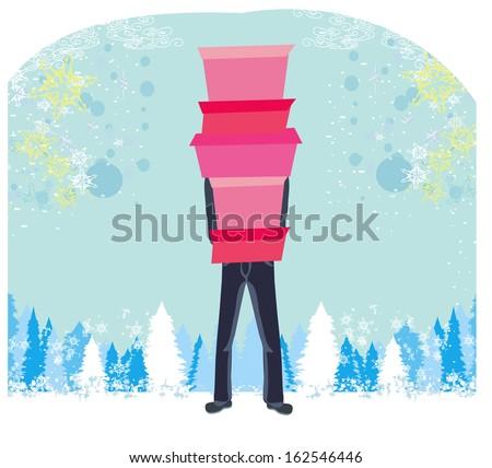 Christmas shopping - winter sale card, Man shopping  - stock vector