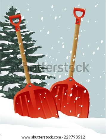 Christmas shovels - stock vector