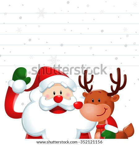Christmas sign, Santa claus and reindeer in white background - stock vector