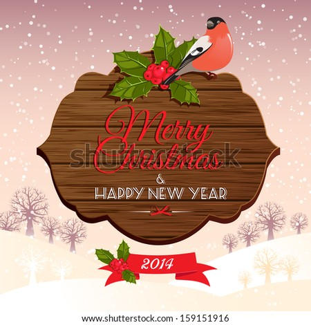 Christmas signboard with holly berry and bullfinch - stock vector