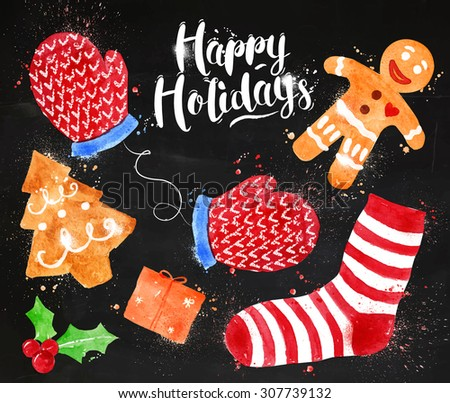 Christmas signs lettering Happy Holidays with cookie, gift, mittens, socks, gingerbread man drawing in vintage style on blackboard - stock vector