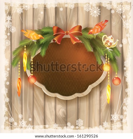 Christmas silk board with wooden frame, Christmas garland, bow, Christmas tree decorations, ornaments, toys, birds, snowflakes, grunge elements on wood wall background in vintage style. New year card - stock vector