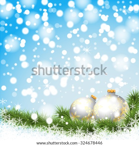 Christmas silver balls on a branch on a background of winter, snow and lights. Illustration vector EPS10. - stock vector
