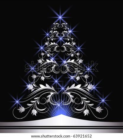 Christmas silver fur-tree with blue stars - stock vector