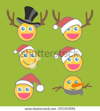 Christmas smiley vector set - stock vector
