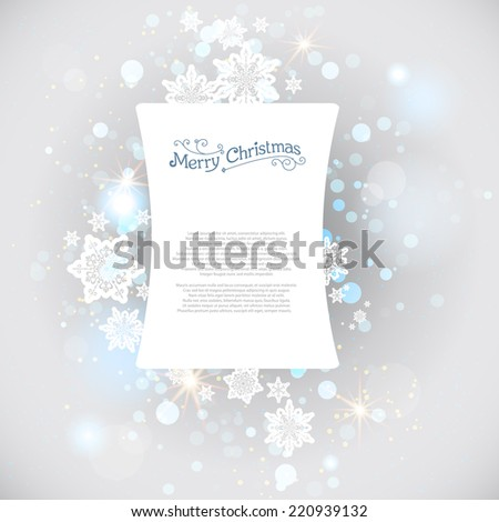 Christmas snow backdrop with copy space - stock vector