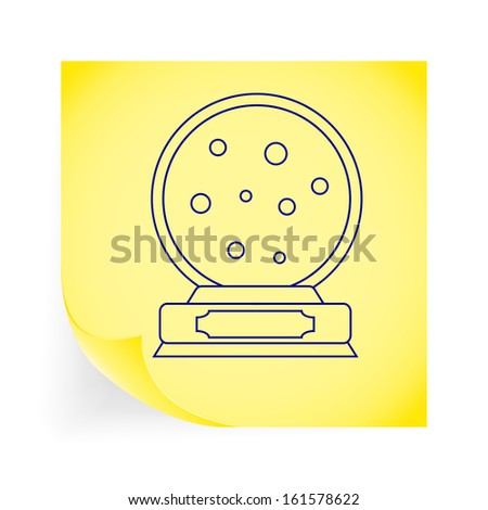 Christmas snow dome. Single icon on the note paper. Vector illustration.