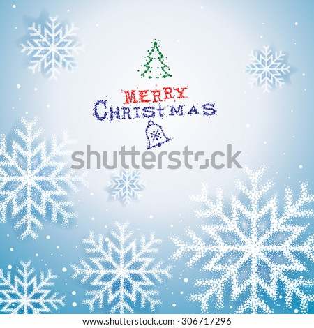 Christmas snow flakes abstract background. - stock vector