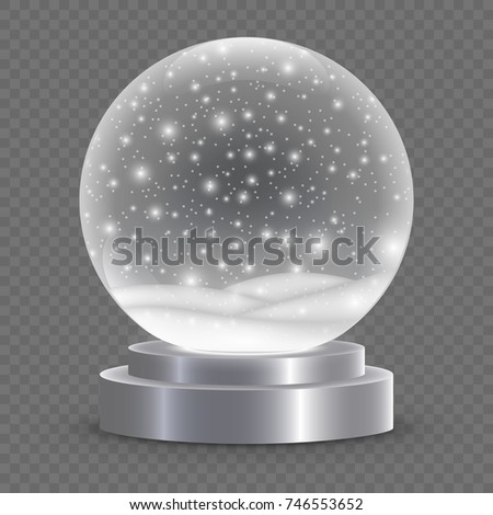 Christmas snow globe isolated. vector illustration. Winter in glass ball, crystal dome with snowflake