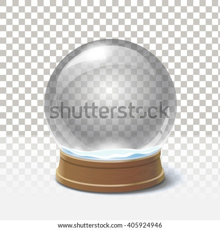 Christmas snow globe on checkered background. Magic ball vector