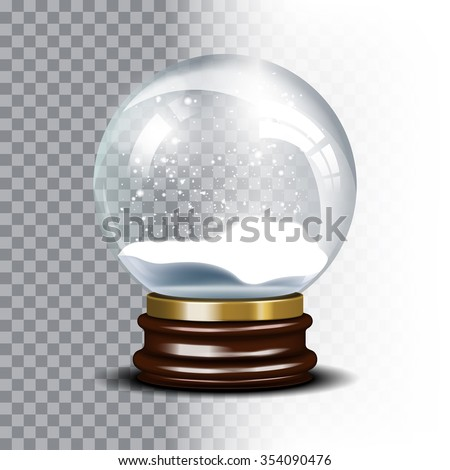 Christmas snow globe on checkered background. Magic ball with snowflake, shiny translucent, vector illustration - stock vector