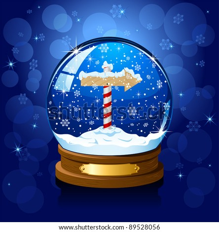 Christmas Snow globe with North Pole sign and the falling snow, illustration - stock vector