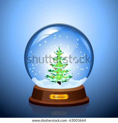 Christmas Snow globe with the falling snow and Christmas tree inside - stock vector