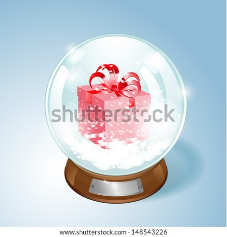 Christmas Snow globe with the gift and the falling snow. EPS10 vector. - stock vector