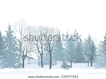 Christmas snow tree border. Snowy forest seamless pattern.Tree without leaves on white background. Plant seamless texture.  Winter park seamless wallpaper.  - stock vector