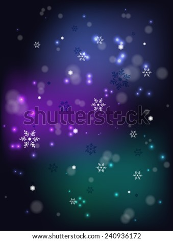 Christmas snowfall on a dark base. EPS10 vector illustration. - stock vector