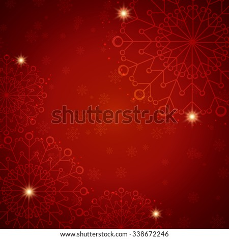 Christmas Snowflake abstract red background with glow and snowfall - stock vector
