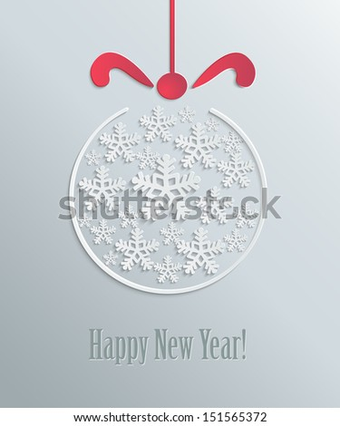 Christmas snowflake abstract toy with a bow in paper style - stock vector