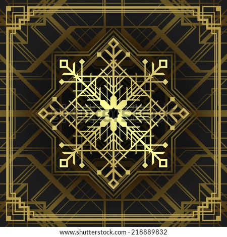 Christmas snowflake art deco style. Merry Christmas holidays wish greeting  card and vintage ornament decoration