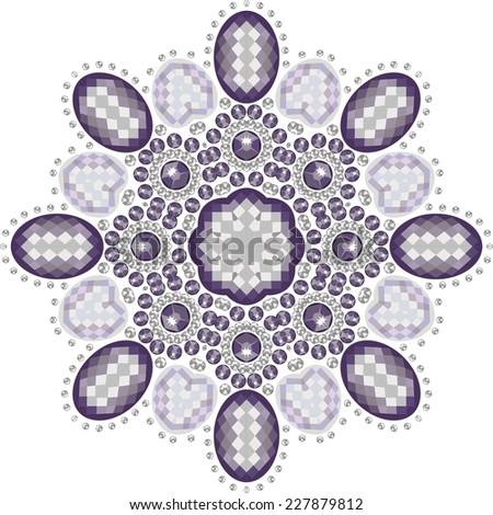 Christmas snowflake crystals of precious (beautiful frame)-stock vector.