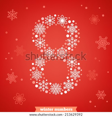 Christmas snowflake numbers. Number eight - stock vector