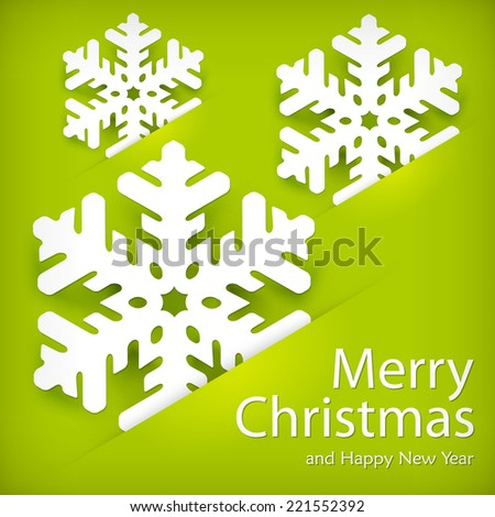Christmas snowflake paper applique on green & text, vector illustration - stock vector