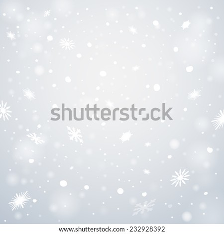 Christmas snowflakes background. Falling snowflakes on snow. Vector illustration, eps 10. - stock vector