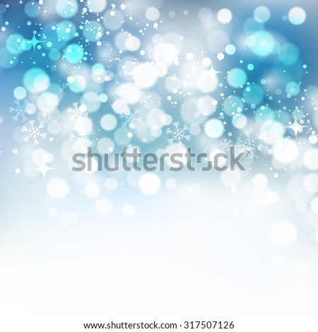 Christmas snowflakes background with bokeh. Vector illustration - stock vector