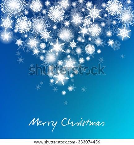 Christmas Snowflakes Card - Cascading Snow - stock vector