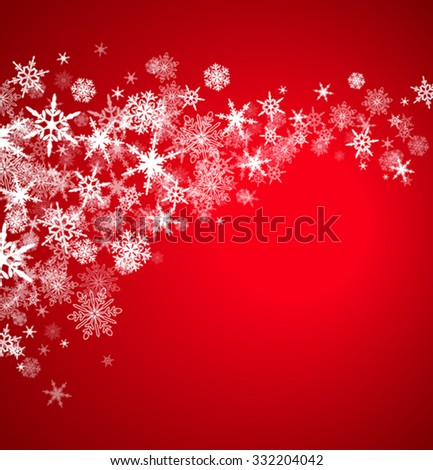 Christmas Snowflakes - On a Burgundy Background - stock vector