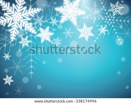 Christmas snowflakes on a colorful background. Vector illustration. - stock vector