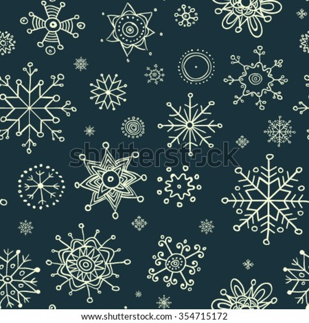 Christmas snowflakes pattern - stock vector