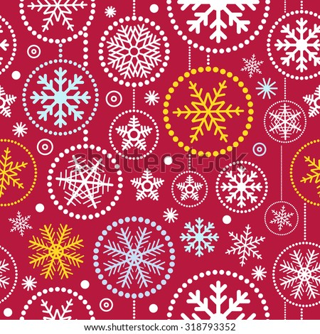 Christmas snowflakes seamless pattern. Merry Christmas and Happy New Year  - stock vector