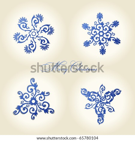 christmas snowflakes vector vintage decor ornament - stock vector