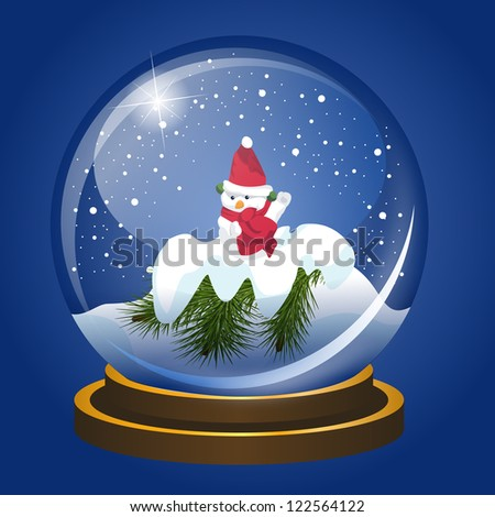 Christmas snowglobe with snowman and falling show. Vector EPS10. - stock vector
