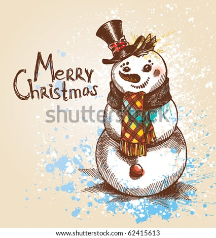 Christmas. Snowman. A sketch made by a pen with spots and sprays on a beige background. Vector illustration. - stock vector