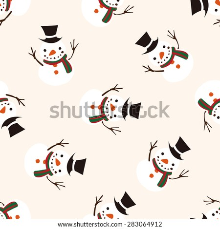 Christmas snowman icon 10,seamless pattern - stock vector
