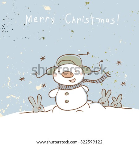 Christmas snowman, merry Christmas greeting card. Doodle style vector illustration.  - stock vector