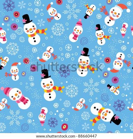 Christmas snowman & snowflakes pattern - stock vector