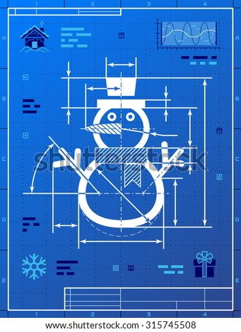 Christmas snowman symbol blueprint drawing drafting stock vector christmas snowman symbol as blueprint drawing drafting of winter snowperson on blueprint paper vector malvernweather Gallery