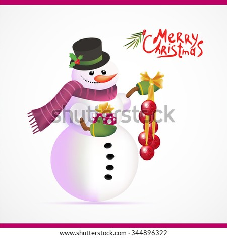 Christmas snowman with gift. Merry Christmas. Vector illustrator