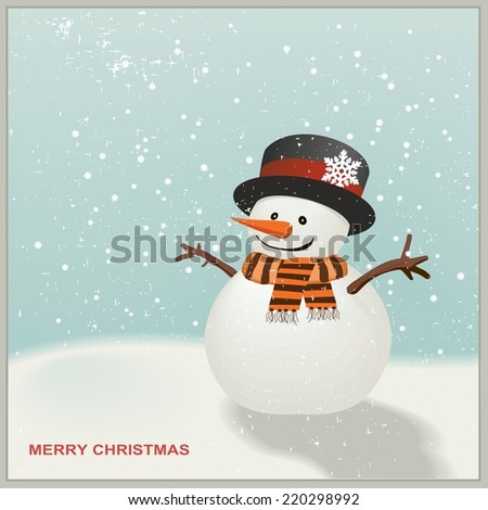 Christmas Snowman with hat and striped scarf - stock vector